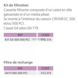 ATLANTIC KIT G4 300-500 PC - KIT DE FILTRATION POUR CRITAIR EC 300-500 PCI
